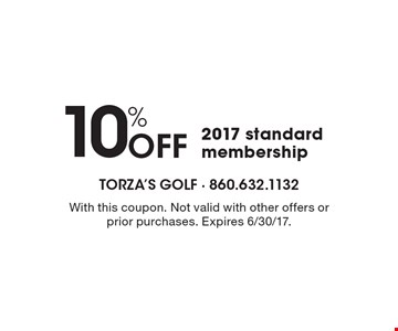 10% Off 2017 standard membership. With this coupon. Not valid with other offers or prior purchases. Expires 6/30/17.