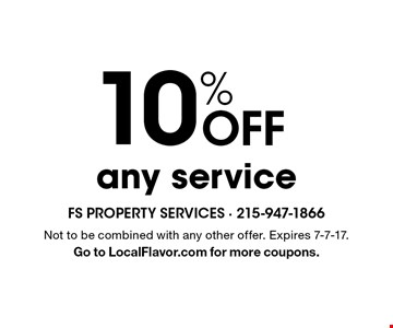 10% off any service. Not to be combined with any other offer. Expires 7-7-17. Go to LocalFlavor.com for more coupons.