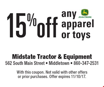 15% off any apparel or toys. With this coupon. Not valid with other offers or prior purchases. Offer expires 11/10/17.