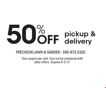 50% Off pickup & delivery. One coupon per visit. Can not be combined with other offers. Expires 6-2-17.