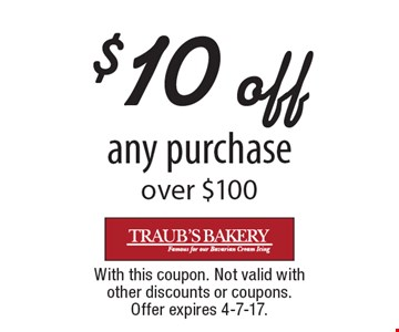 $10 off any purchase over $100. With this coupon. Not valid with other discounts or coupons. Offer expires 4-7-17.