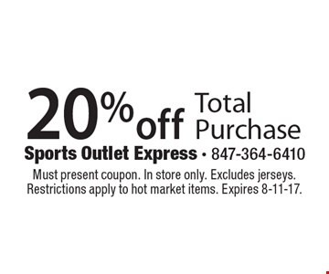 20% off Total Purchase. Must present coupon. In store only. Excludes jerseys. Restrictions apply to hot market items. Expires 8-11-17.