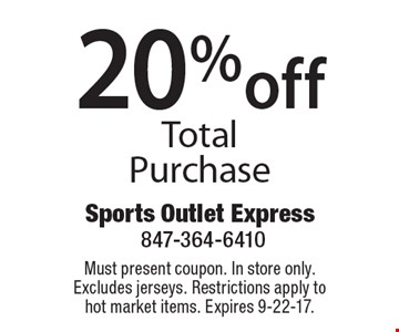 20% off Total Purchase. Must present coupon. In store only. Excludes jerseys. Restrictions apply to hot market items. Expires 9-22-17.