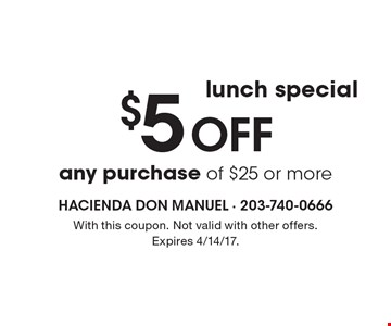 Lunch special. $5 off any purchase of $25 or more. With this coupon. Not valid with other offers. Expires 4/14/17.