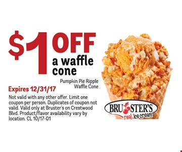 $1 Off A Waffle Cone