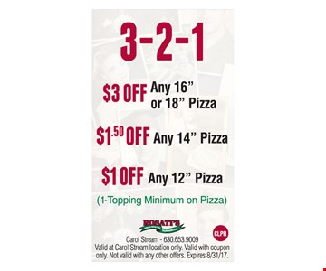 Up to $3 off your pizza.