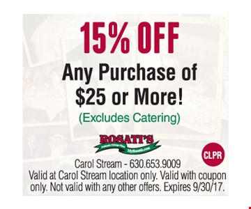 15% off any purchase of $25 or more