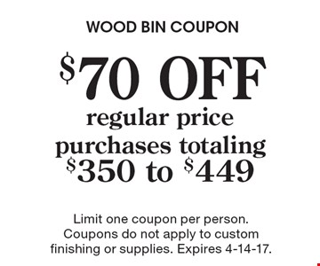 $70 OFF regular price purchases totaling $350 to $449. Limit one coupon per person. Coupons do not apply to custom finishing or supplies. Expires 4-14-17.
