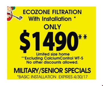 Ecozone filtration with installation $1490