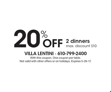20% off 2 dinners. Max. discount $10. With this coupon. One coupon per table. Not valid with other offers or on holidays. Expires 5-26-17.