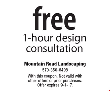 Free 1-hour design consultation. With this coupon. Not valid with other offers or prior purchases. Offer expires 9-1-17.