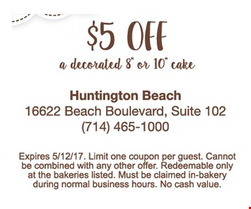 $5 off a decorated 8' or 10' cake