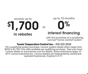 0% interest financing up to 72 months. $1,700 in rebates receive up to. *On a qualifying system purchase. Lennox system rebate offers range from $250 to $1,700. One offer available per qualifying purchase. *See your local Lennox dealer or www.lennox.com for details. Some restrictions apply.  2017 Lennox Industries Inc. Lennox dealers are independently owned and operated businesses. Expires 6-9-17.