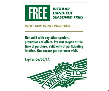 Free regular hand-cut seasoned fries