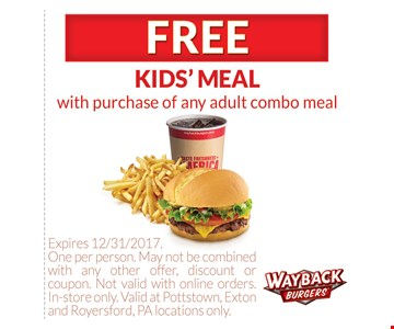 Free kids' meal with purchase of any adult combo meal