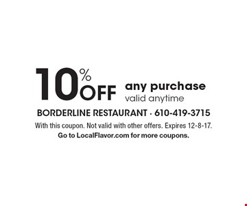 10% Off any purchase. Valid anytime. With this coupon. Not valid with other offers. Expires 12-8-17. Go to LocalFlavor.com for more coupons.