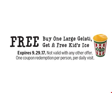 Free kid's ice. Buy one large Gelati, get a free kid's ice. Expires 9.29.17. Not valid with any other offer. One coupon redemption per person, per daily visit.