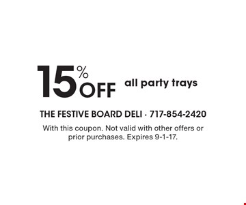 15% Off all party trays. With this coupon. Not valid with other offers or prior purchases. Expires 9-1-17.