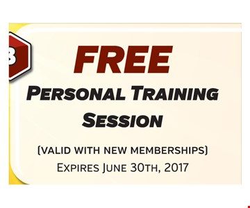Free personal training session. Expires June 30, 2017