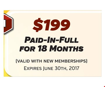 $199 paid-in-full for 18 months (valid with new memberships) Expires June 30, 2017