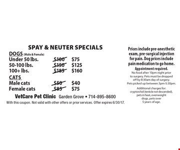 Dogs (Male & Female): Under 50 lbs. $75, 50-100 lbs. $125, 100+ lbs. $160. Cats: Male cats $40, Female cats $75 Prices include pre-anesthetic exam, pre-surgical injection for pain. Dog prices include pain medication to go home. Appointment required. No food after 10pm night prior to surgery. Pets must be dropped off by 8:30am day of surgery. Pets picked up between 3pm-5:30pm.Additional charges for: cryptorchid (testicle not descended), pets in heat, overweight dogs, pets over 5 years of age.. With this coupon. Not valid with other offers or prior services. Offer expires 6/30/17.