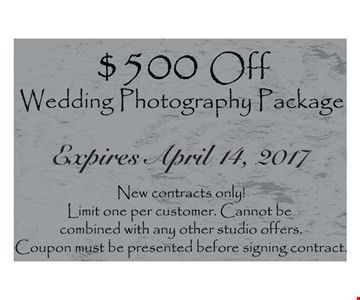 $500 off Wedding photography package