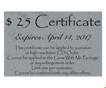 $25 certificate