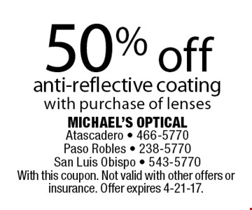 50% off anti-reflective coating with purchase of lenses. With this coupon. Not valid with other offers or insurance. Offer expires 4-21-17.