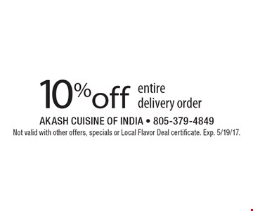 10% off entire delivery order. Not valid with other offers, specials or Local Flavor Deal certificate. Exp. 5/19/17.