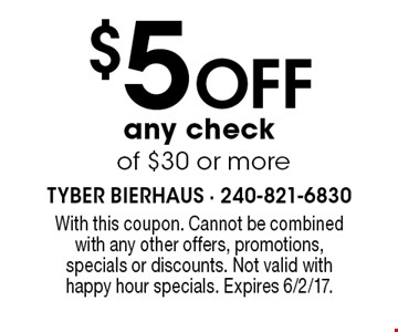 $5 off any check of $30 or more. With this coupon. Cannot be combined with any other offers, promotions, specials or discounts. Not valid with happy hour specials. Expires 6/2/17.