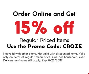 Order online and get 15% off