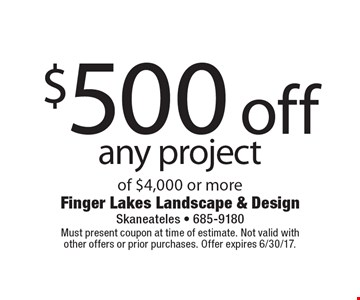 $500 off any project of $4,000 or more. Must present coupon at time of estimate. Not valid withother offers or prior purchases. Offer expires 6/30/17.