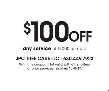 $100 Off any service of $1000 or more. With this coupon. Not valid with other offers or prior services. Expires 10-6-17.