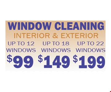 Window cleaning for as low as $99.