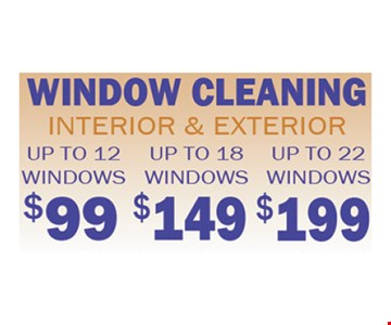 Window cleaning starting at $99