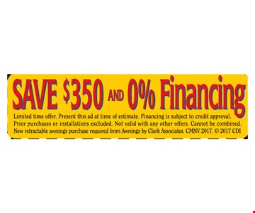 SAVE $350  AND 0% FINANCING  LIMITED TIME OFFER.
