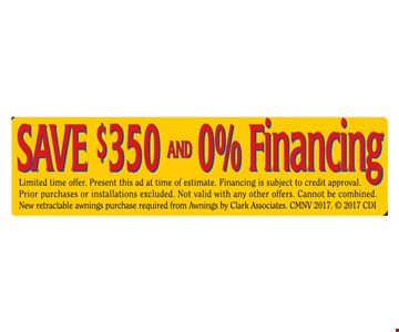Save $350 and 0% Financing