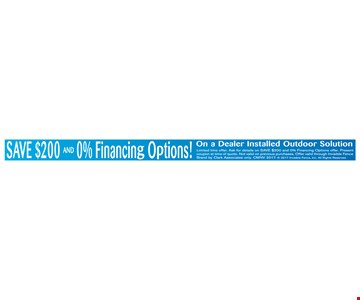 Save $200 and 0% Financing