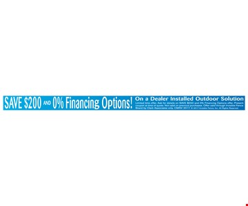 Save $200 and 0% financing Options