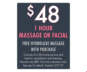 $48 For 1 Hour Massage Or Facial