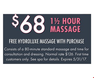 $68 For 1 1/2 Hour Massage