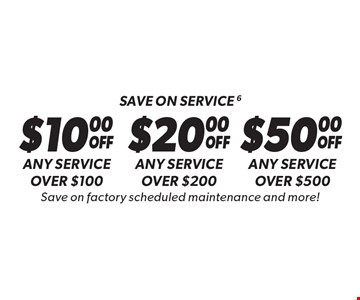 Save on service 6. $10.00 OFF Any service over $100 OR $20.00 OFF Any service over $200 OR $50.00 OFF Any service over $500. Save on factory scheduled maintenance and more! Discount applies to regular retail pricing. Not valid on the sale of tires and batteries. Coupon must be presented at time of estimate. Valid on most cars and light trucks at participating Meineke US locations only. Not valid with any other offers, special order parts or warranty work. See center manager for complete details. No cash value. Void where prohibited. Limited time offer. Offer ends 5-5-17.