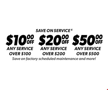 Save on service 6. $10 off any service over $100 or $20 off any service over $200 or $50 off any service over $500. Save on factory scheduled maintenance and more! Discount applies to regular retail pricing. Not valid on the sale of tires and batteries. Coupon must be presented at time of estimate. Valid on most cars and light trucks at participating Meineke US locations only. Not valid with any other offers, special order parts or warranty work. See center manager for complete details. No cash value. Void where prohibited. Limited time offer. Offer ends 6-4-17.