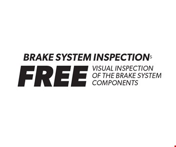 FREE Brake System inspection. Visual inspection of the brake system components. If diagnostic service is required, fees may apply. Valid at participating locations only. Valid on most cars and light trucks. Not valid with any other offers, special order parts or warranty work. Coupon must be presented at time of estimate. See center manager for complete details. No cash value. Void where prohibited. Offer expires 5-28-17.