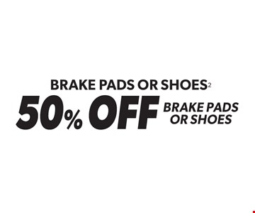 Brake Pads Or Shoes2 50% OFF Brake Pads Or Shoes. Valid only with purchase of brake pads or shoes when installed at Meineke. Coupon must be presented at time of estimate. Valid on most cars and light trucks at participating Meineke U.S. locations only. Offer can be combined with Meineke Credit Card rebates. Not valid with discounts, special order part or warranty work. See center manager for complete details. No cash value. Void where prohibited. Offer ends 5-28-17.