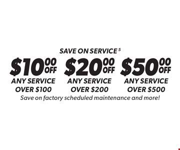 Save on service 5 Any service over $500. Any service over $200. Any service over $100. Save on factory scheduled maintenance and more! Discount applies to regular retail pricing. Not valid on the sale of tires and batteries. Coupon must be presented at time of estimate. Valid on most cars and light trucks at participating Meineke US locations only. Not valid with any other offers, special order parts or warranty work. See center manager for complete details. No cash value. Void where prohibited. Limited time offer. Offer ends 10-13-17.