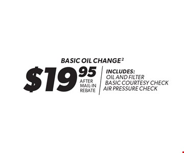$19.95 after mail-in rebate basic oil change. Includes: oil and filter basic courtesy check air pressure check. Oil change includes standard oil filter and up to 5 quarts of 5W30 conventional oil. Oil type based on availability and may vary by location. Additional disposal and shop supply fees may apply. Special oils and filters are available at an additional cost. Coupon must be presented at time of estimate. Valid on most cars and light trucks at participating Meineke U.S. locations only. Not valid with any other offers, special order parts or warranty work. See center manager for complete details. No cash value. Void where prohibited. Limited time offer. Offer ends 11-30-17.