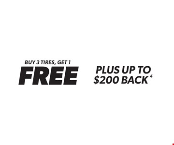 Buy 3 tires, get 1 FREE plus up to $200 back. Visit coopertire.com to submit online, download an official mail-in form, or see Meineke for mail-in rebate form. Payment of reward is based on purchases in the U.S. and Puerto Rico and will be made through a Cooper Tires Visa Prepaid Card. Cards are issued by Metabank, member FDIC, pursuant to a license from Visa U.S.A. If applicable, the Synchrony VisaPrepaid Card is issued by Metabank, member FDIC pursuant to a license from Visa U.S.A. Inc. cannot be redeemed for cash and cannot be used for cash withdrawals. Visa Prepaid Cards can be used everywhere Visa debit cards are accepted. Offer is in effect for tires purchased from September 1, 2017. - October 31, 2017. Reward request must be made by November 30, 2017 and received by December 15, 2017. Offer based on availability of eligible new tires at time of purchase. Reward amount depends on qualifying tires purchased and method of payment. Void where prohibited. Available at participating Meineke locations only. Offer ends 10-31-17.