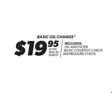 $19.95 Basic oil change after mail-in rebate. Includes: oil and filter basic courtesy check air pressure check. 2. Oil change includes standard oil filter and up to 5 quarts of 5W30 conventional oil. Oil type based on availability and may vary by location. Additional disposal and shop supply fees may apply. Special oils and filters are available at an additional cost. Coupon must be presented at time of estimate. Valid on most cars and light trucks at participating Meineke U.S. locations only. Not valid with any other offers, special order parts or warranty work. See center manager for complete details. No cash value. Void where prohibited. Limited time offer. Offer ends 12-31-17.