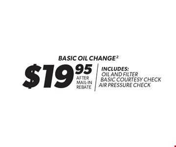 $19.95 after mail-in rebate Basic oil change. Includes: oil and filter basic courtesy check air pressure check. 2. Oil change includes standard oil filter and up to 5 quarts of 5W30 conventional oil. Oil type based on availability and may vary by location. Additional disposal and shop supply fees may apply. Special oils and filters are available at an additional cost. Coupon must be presented at time of estimate. Valid on most cars and light trucks at participating Meineke U.S. locations only. Not valid with any other offers, special order parts or warranty work. See center manager for complete details. No cash value. Void where prohibited. Limited time offer. Offer ends 1-26-18.